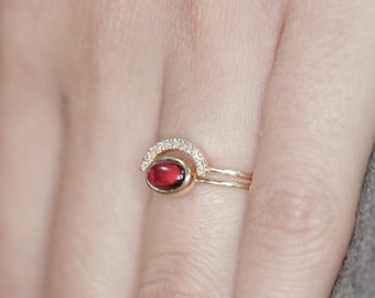 Garnet and Diamond ring stuckable ring garnet engagement ring with diamonds 35 birthday gift ring