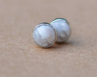 Howlite Earrings with Sterling Silver Earring studs, 5mm gemstones