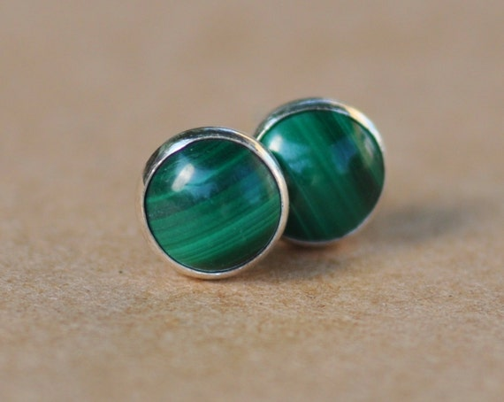 Green Malachite Earrings with Sterling Silver Studs. 6mm Cabochon Gemstones