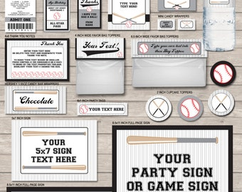 Baseball Party Printables - Black and Grey Gray or Silver - full Package - INSTANT DOWNLOAD with EDITABLE text - you personalize at home