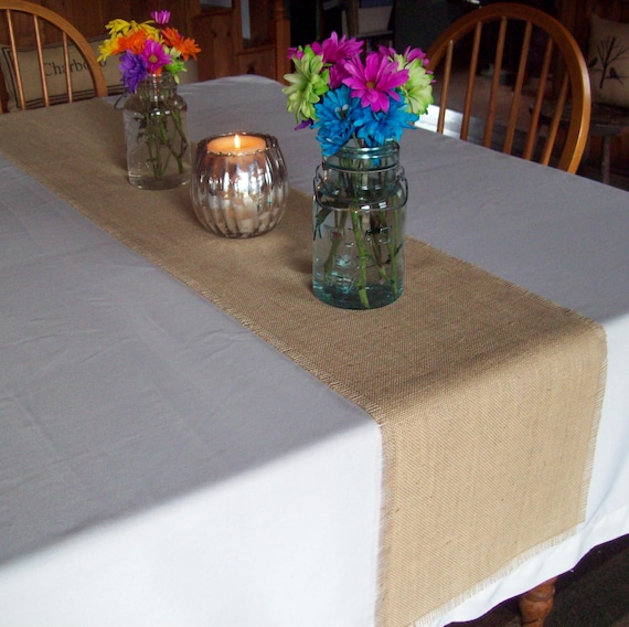 Burlap Table Runner in Sizes 12 x 72 to 18 x 72 by North Country Comforts - Natural or Off White Burlap - Rustic Fall Table Decor