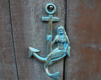 Mermaid and Anchor Wall Hook Large, Aqua Color, Cast Iron,   Nautical Home Accents  Handmade