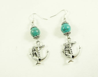 Silver Dangle Earrings,   Mermaid Sitting on Anchor With Turquoise Beads Womens Gift  Handmade