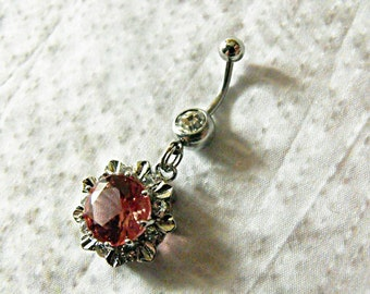 Belly Ring,  Pink Sapphire With Rhinestones    Womens gift  Handmade