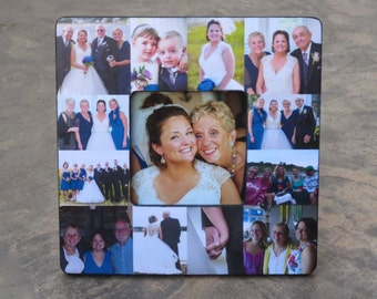"Personalized Parent's Thank You Gift,  Mother of the Bride Gift, Unique Custom Wedding Collage Picture Frame, 8"" x 8"""