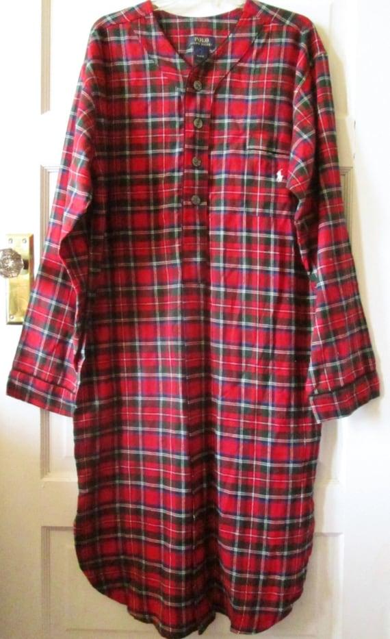 Men 39 s women 39 s ralph lauren polo flannel nightshirt for Womens flannel night shirts