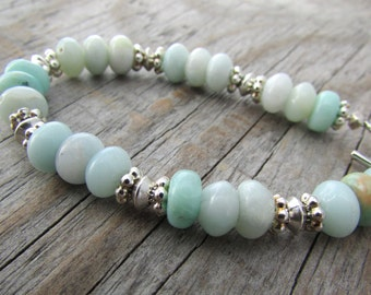 Amazonite Bracelet simple blue amazonite silver adjustable bracelet