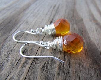 Orange Crystal Earrings, bright orange, cut crystal, wire wrapped, prism earrings