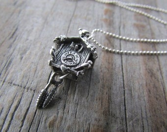 Cuckoo Clock Necklace, small silver cuckoo clock pendant, sterling silver