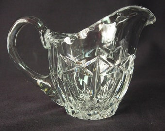 Lead Crystal Creamer or Syrup Pitcher - Crosshatch and Thumbprint