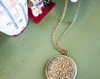 REDUCED PRICE Handmade Brass Filigree Locket Pendant Necklace