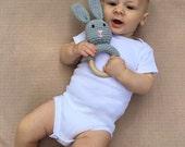 Grey Crochet Bunny Teething Ring / Wood Teether Toy