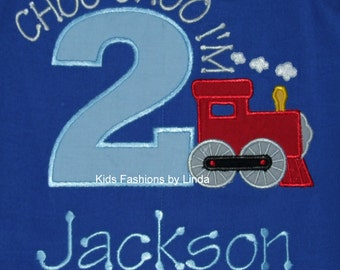 Personalized Choo Choo Train Royal Blue Birthday Longall-Personalization Included