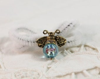 Lovely Blue and Gold Fly / Bee Bead Pin