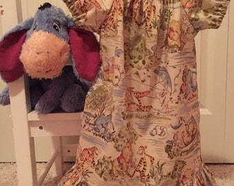 Winnie the Pooh Toile Ruffled Peasant Dress 6 12 18 24 2T 3T 4T 5/6