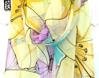 Large Silk Scarf Hand Painted, ETSY, Yellow Chiffon Scarf Silk, Yellow Lilies and Purple Poppies, T14x72 inch, Made to order