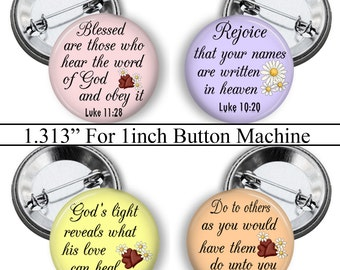"""Christian, 1.313"""" Circles, Bible Verse, Digital Collage Sheet, 1 inch Button Machine, Instant Download, Magnets, Pins, Badges, No.1"""