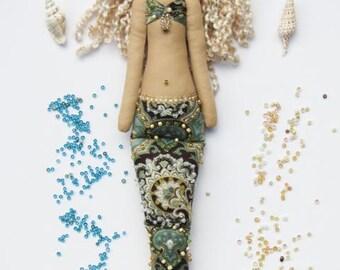 Mermaid doll rag doll softie plush cloth doll fabric doll little Mermaid handmade blonde room decor and nursery decor doll for girl and mom
