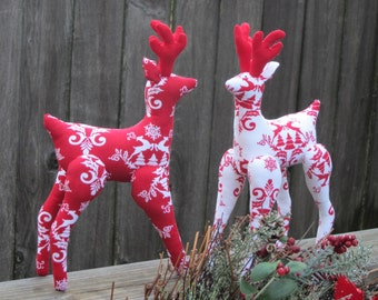 Christmas Reindeer softie plush toy cute stuffed toy Reindeer scandinavian red white country Christmas decoration ornament gift for boy,girl