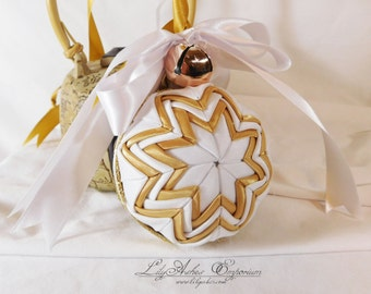 Hanging Quilted Ornament Ball Gold White with Bells