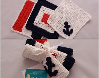 Nautical Crochet Dishcloth Gift Set – Includes Gift Card – Red, White and Blue