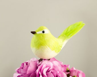 NEW ITEM! Cute Plump Chickadee Feather And Felted Mushroom Bird in Green Apple / Artificial Birds With Real Feathers