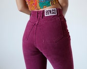 Vintage High Waisted Bongo Jeans Size 3 Maroon Colored Denim Pants Made in USA - R8