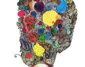 A4 Fabulous Pouf - Potpourri Series - Mexican Inspired - Flowers Color illustration Art Print