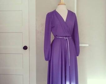 SALE // 70s Wrap Dress // Lavender Boho Disco Western Midi
