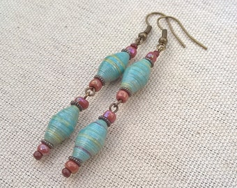 Blue paper bead earrings ~ One of a Kind Paper Bead Jewelry