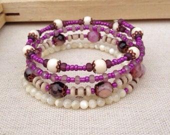 Purple & Ivory memory wire bracelet ~ One of a kind jewelry