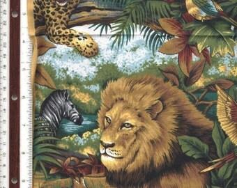 African Jungle Animals - Realistic - 1 yard - 100% Cotton Fabric