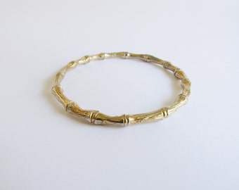 Gold Bamboo Bracelet / Bangle Bracelet / Vintage / Stacking / Layering / Safari Themed
