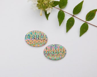 Polymer Clay Button, funky pink oval button