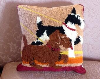 Scottie Dog Punchwork Pillow, Scotty Dogs Wool Pillow