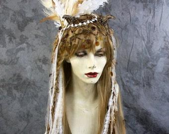 Spring Sale: Bohemian Amber Fairy - Blonde Full Wig, Bead & Feather Headpiece Costume Renaissance  BOHO cosplay modeling Burning Man Pegan