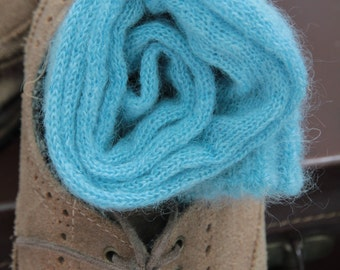 Knitted Wool socks - Hand Made -Turquoise blue SILK and MOHAIR winter socks Hipster MENS socks. Large size. Dress socks. Thin stockings