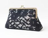 Alencon Black & Champagne Evening Clutch Bag / Customized clutch / Black Formal clutch / Handbag