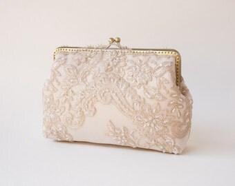 Champagne Beige Lace Clutch Purse / Lace Clutch / wedding bag / bridesmaid clutch / Glam Bridal clutch /  Evening clutch / Formal Party Pu