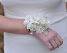 Wrist Corsage, Ivory Hydrangea with Ivory Roses, Rhinestone Bracelet, Wedding Corsage, Prom Corsage, Silk Flower Corsage.