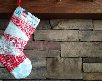 Christmas Stocking Red Teal Stocking OOAK Patchwork Stocking Red Teal Patchwork Christmas Holiday Quilted Stocking #3