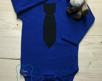 Blue and Black Necktie Baby Bodysuit, Baby Tie Shirt, Baby Shower Gift, Baby Boy Gift, Necktie Bodysuit, Police Baby, Thin Blue Line Baby