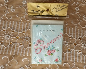 Vintage Pretty 1950s Charm Craft Please Come to a Shower Invitations NOS 12 unopened cards *eb