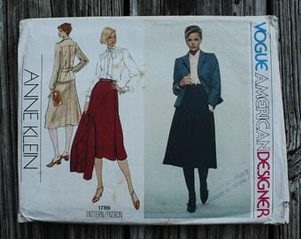 Vogue American Designer Anne Klein 1789 1970s 70s Jacket Midi Skirt Suit Blouse Vintage Sewing Pattern Size 10 Bust 32.5