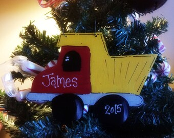 Dump truck Christmas ornament personalized name truck boy toys
