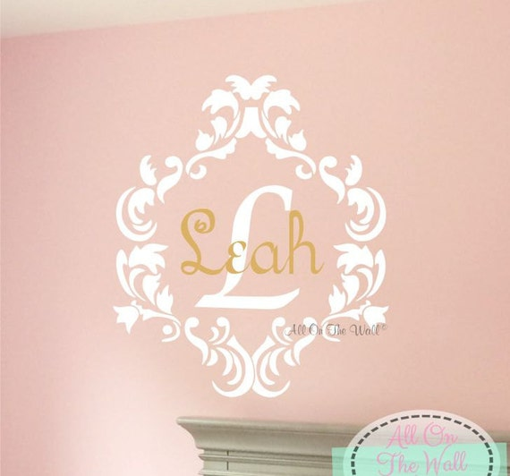 Baby Girl Name Wall Decal Damask Monogram Decal Nursery Monogram Vinyl Lettering Kids Wall Stickers Baby Girl Monogram Decals