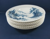 Vintage Johnson Bros SOUP BOWL Set/7 CASTLE on the Lake Blue Transfer Ironstone England