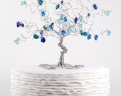 Wedding Cake Topper Peacock Blue Wire Tree Sculpture Ready to Ship
