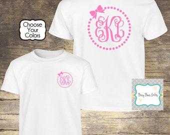 Girl's Monogrammed Shirt * Polka Dot Monogram * Bow Monogram * Girls Monogram Shirt * Girls Personalized Shirt * Youth Short Sleeve