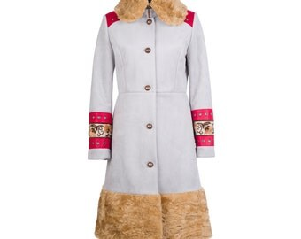 Winter coat with fur, leather and eyelets, women's winter coat, suede winter coat - collection MORENA #5 - size L/40